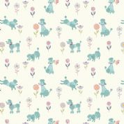 Lewis & Irene - Poodle & Doodle - 6364 - Teal Poodles on White - A362.1 - Cotton Fabric